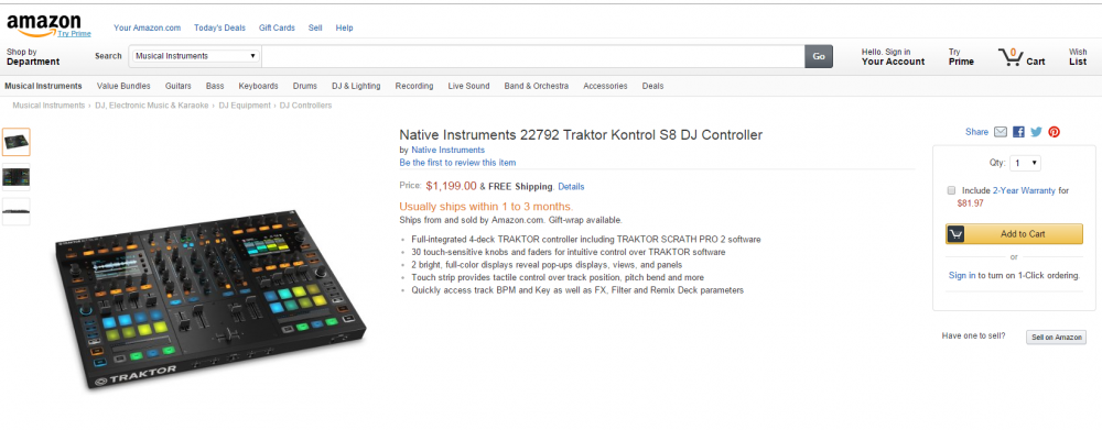 Native Instruments Traktor S8 leaked by Amazon.