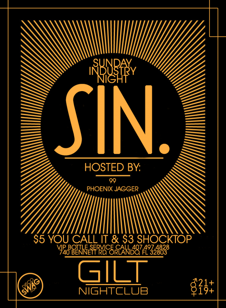 SIN. (Sunday Industry Night) @ GILT ***GUESTLIST***